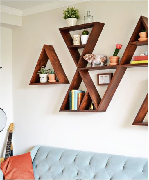 diy triangle shelf