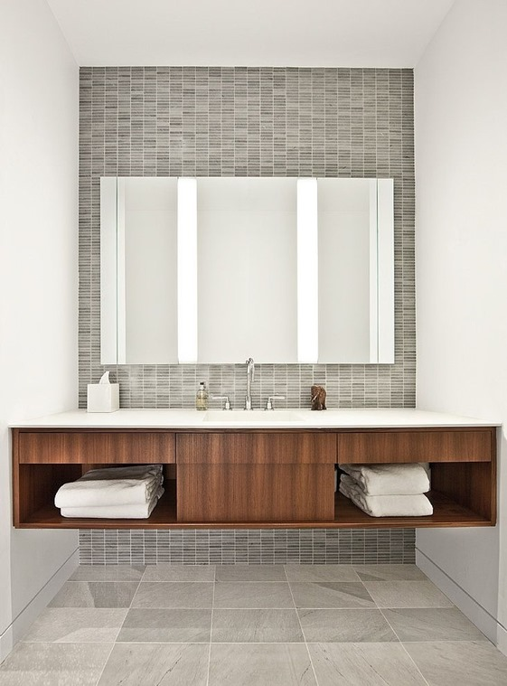 Inspirational warm wood gray tile bathroom vanity