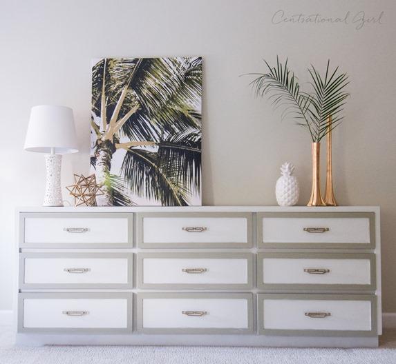 dresser with lattice trim