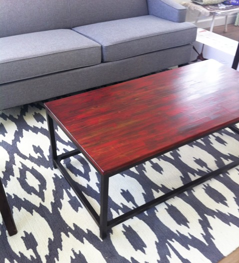 weird red table