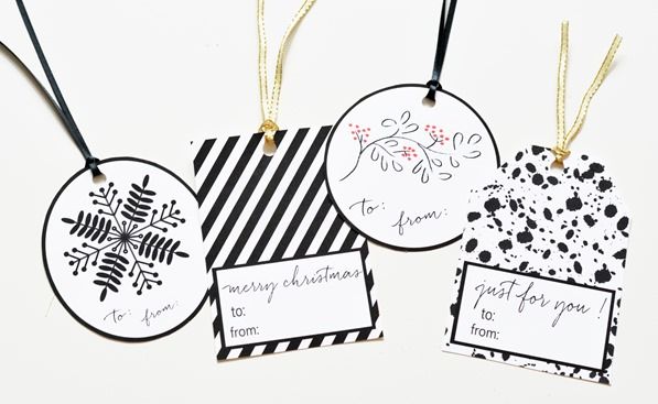 black and white holiday gift tags