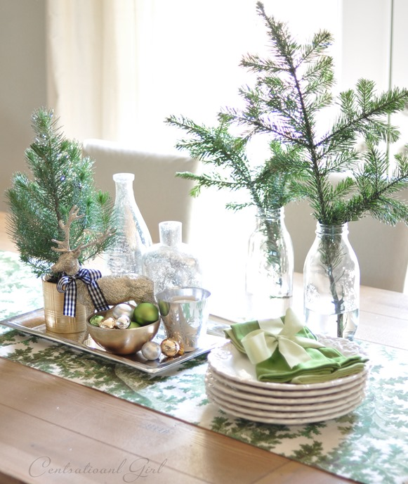 evergreen clippings on dining table