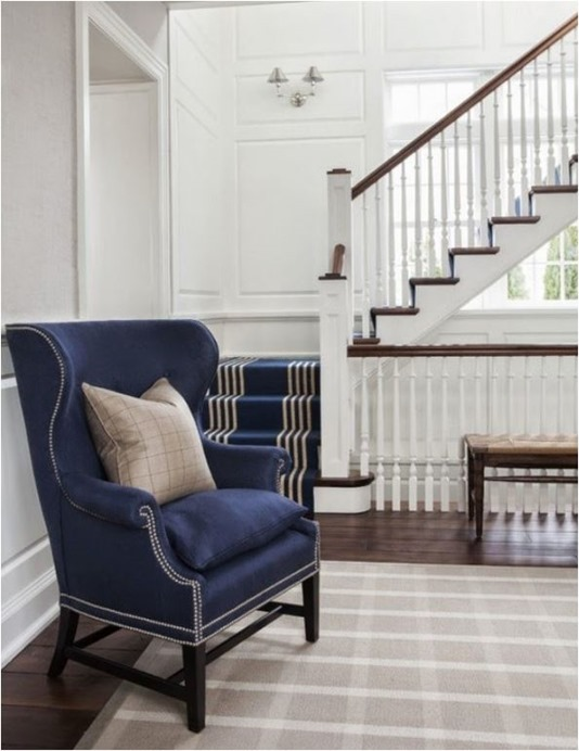 navy linen chair traditional staircase