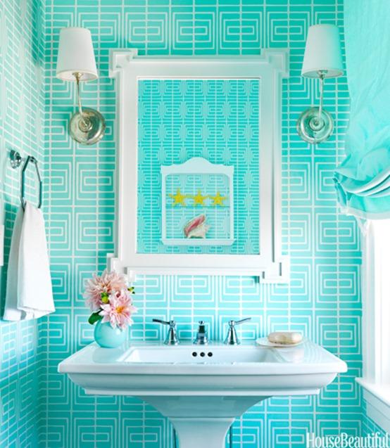 aqua bathroom house beautiful