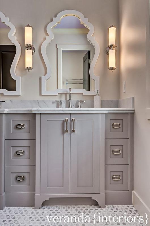 gray vanity curved mirror