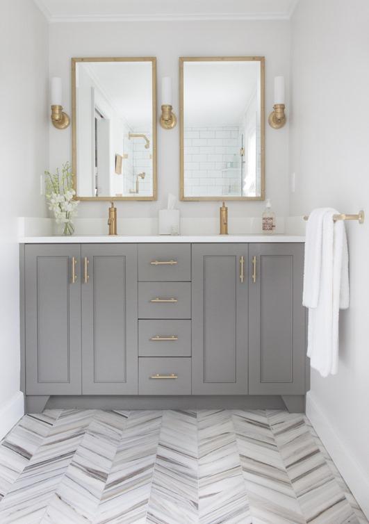 gray vanity marble chevron floor
