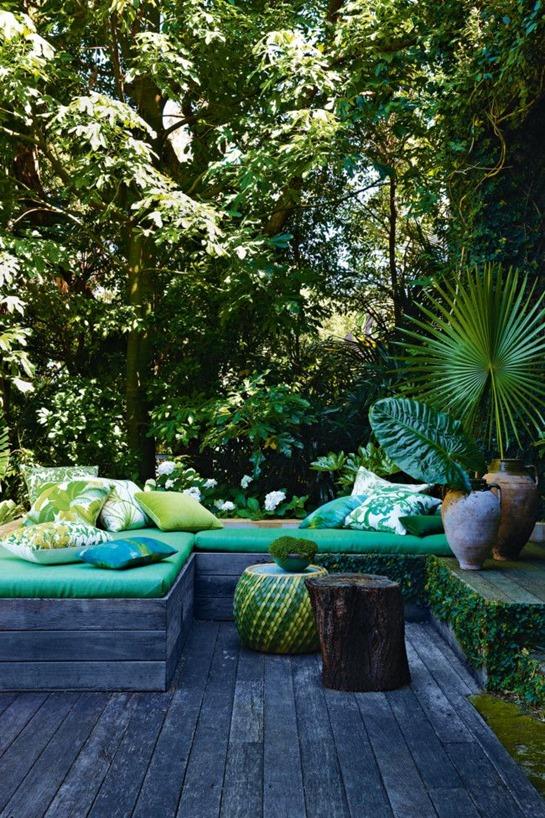 green fabrics outdoor deck