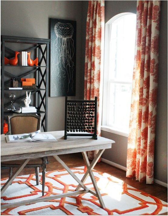 orange and black home office