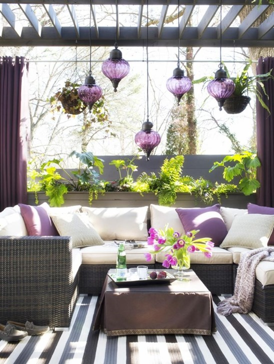 plum accents outdoor space