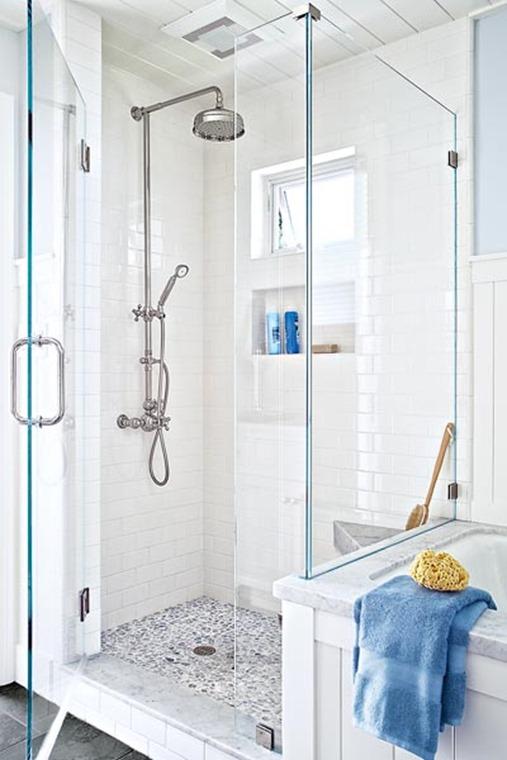 white shower chrome fixtures