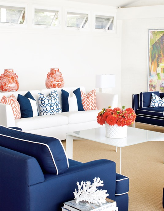 Lovely Coral Navy Living Room Part 27