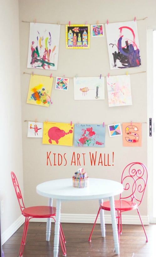 Unique kids art wall