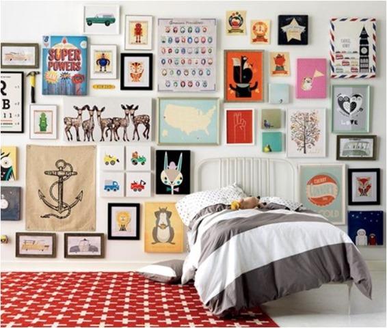 Fancy kids bedroom art wall