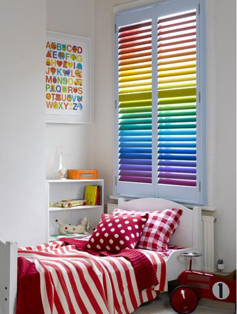 rainbow painted plantation shutters