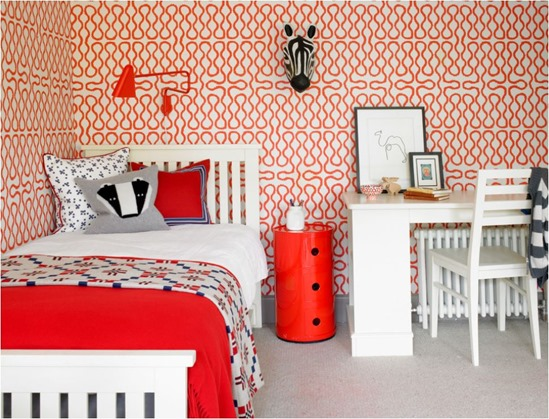 wallpapered kids room