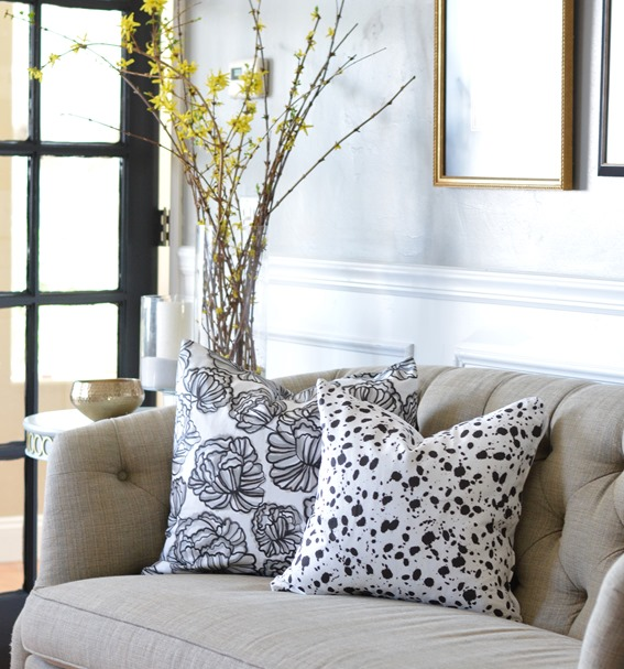 black and white peonies and splatter pillows