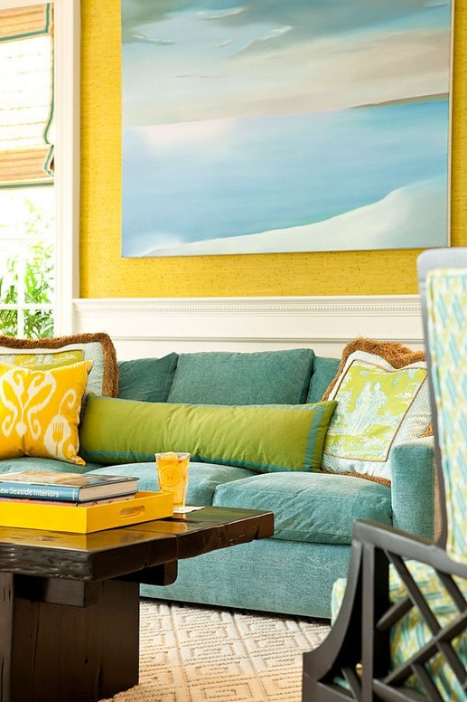 blue green yellow in living room
