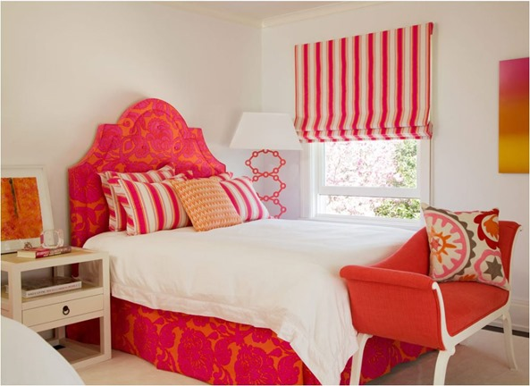 bright pink and orange bedroom