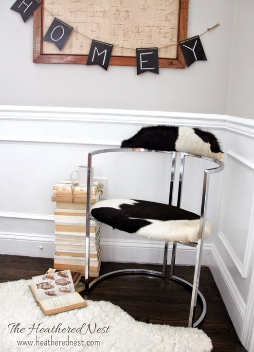 cowhide chrome chair makeover