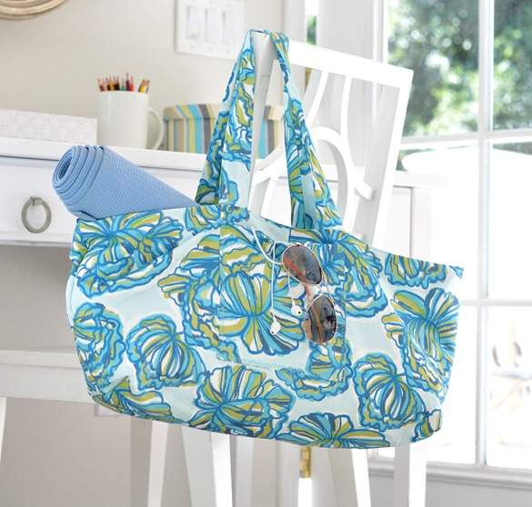diy blue floral tote bag