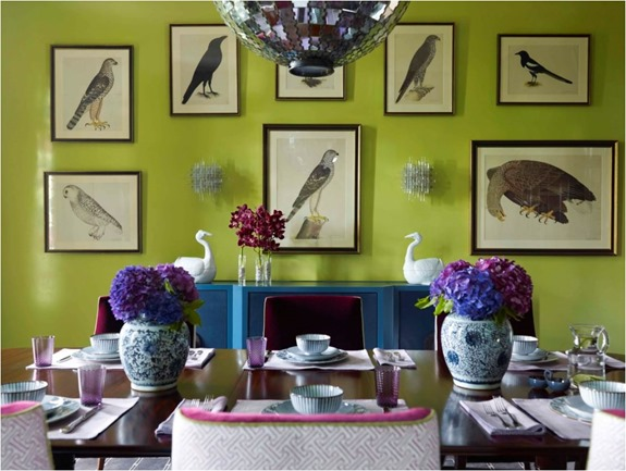 green blue purple dining room