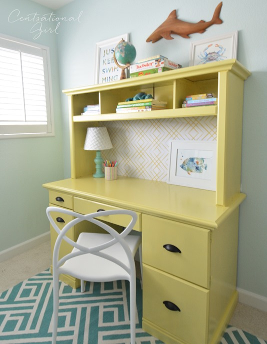 yellow desk right side view