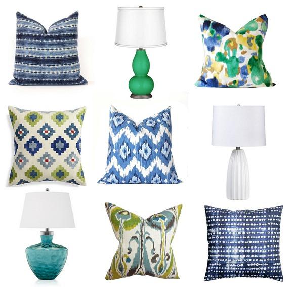blue green lamps pillows