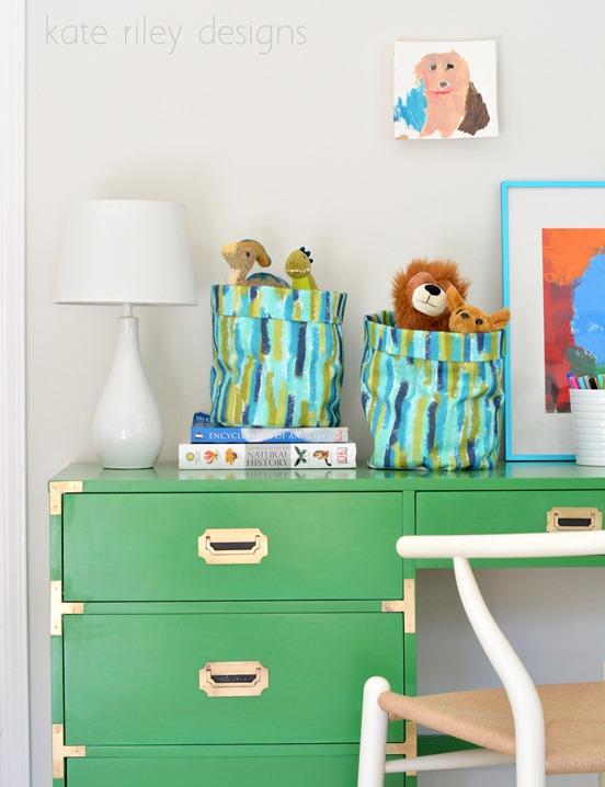 brushstroke fabric buckets on desk