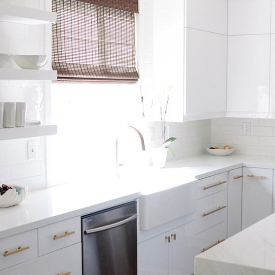 Captivating Gold Hardware White Kitchen