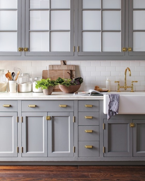 Wonderful Gray Cabinets Brass Hardware