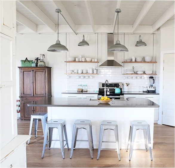 Hanging Open Kitchen Shelves: Modern Farmhouse Style
