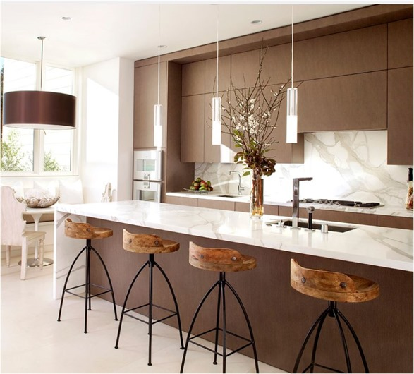 Lovely marble waterfall edge dark cabinets