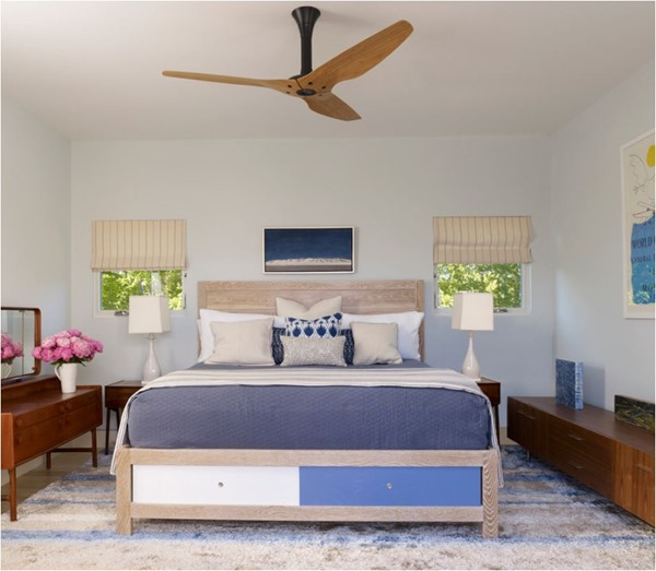 wood and black bedroom ceiling fan