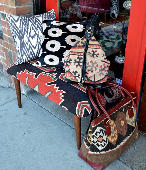 kilim bench and ikat pillows