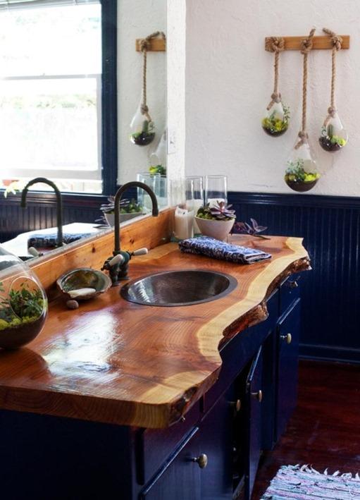Navy Vanity Wood Bathroom Countertop