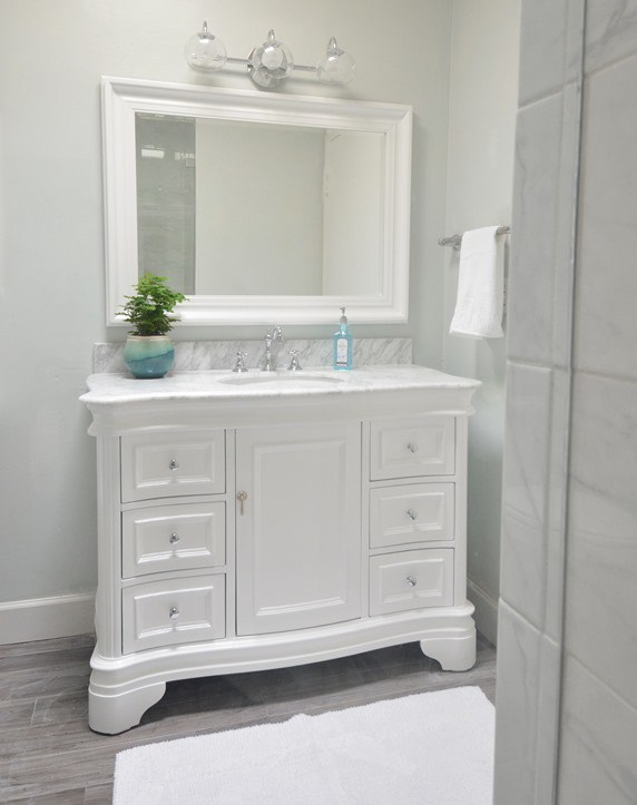 Popular Now the remodeled bathroom feels fresh and modern