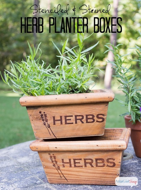 stenciled herb planter boxes