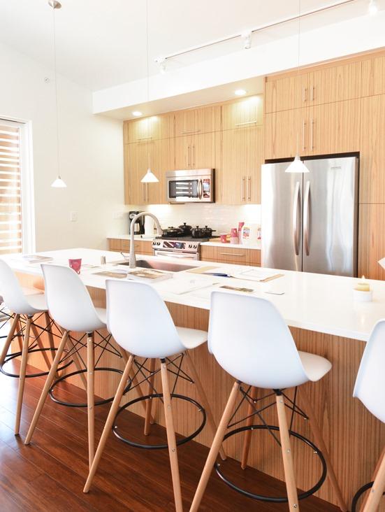bali teak cabinets white caesarstone countertops