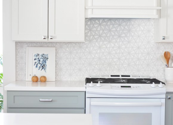 hexagon glass kitchen tile backsplash
