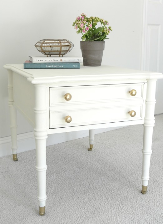 painted end table gold knobs