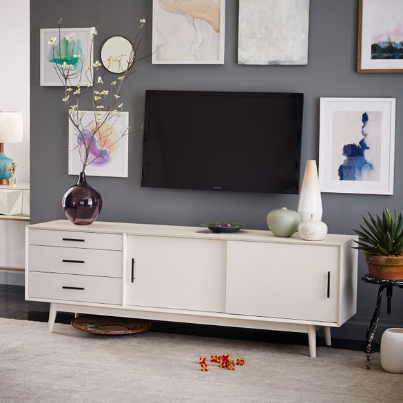 Stunning white media stand abstract art