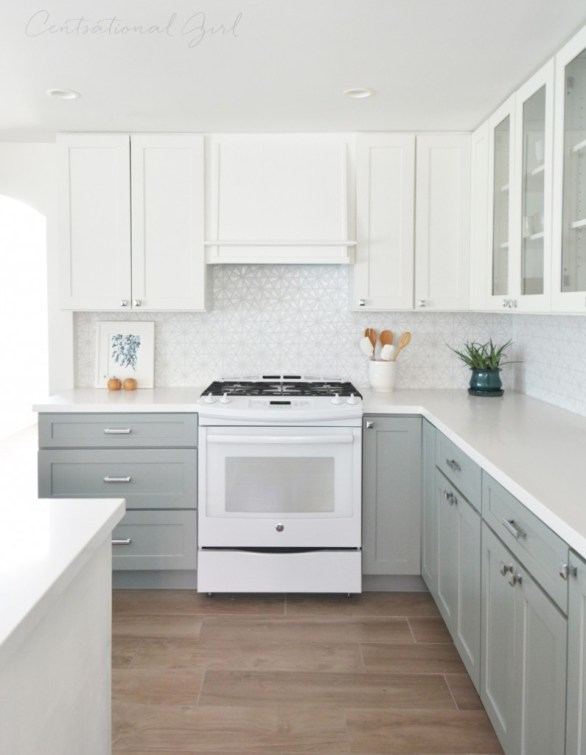 white upper cabinets range wall