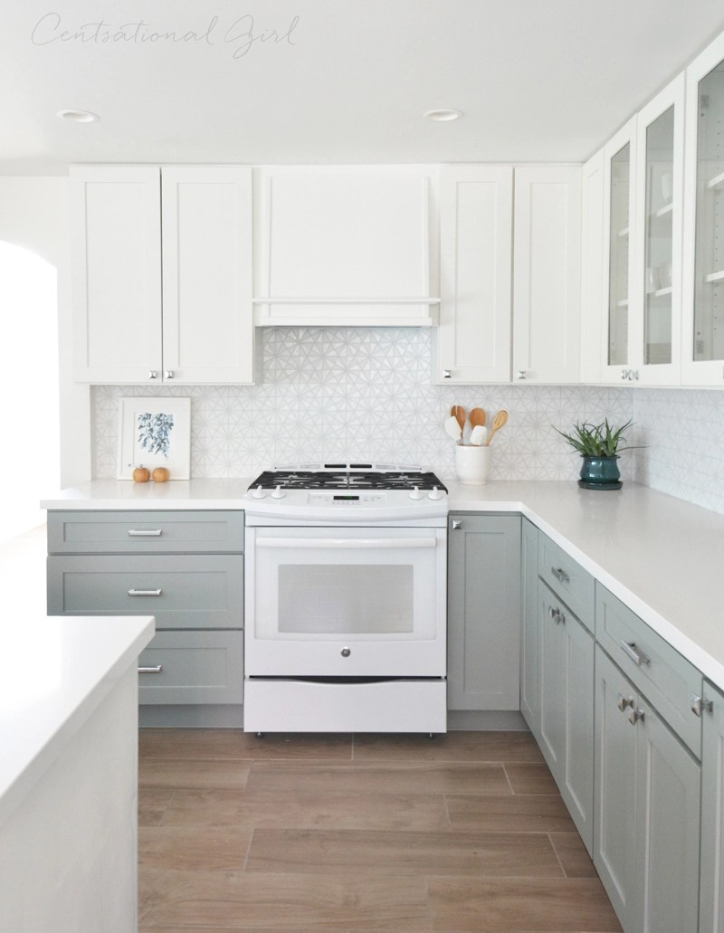 see this post for the full kitchen tour this kitchen remodel includes shaker style cabinets and quartz countertops also white appliances since theyre - Kitchen Remodel With White Appliances