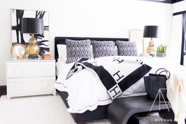 dormitorio blanco y negro monocromático