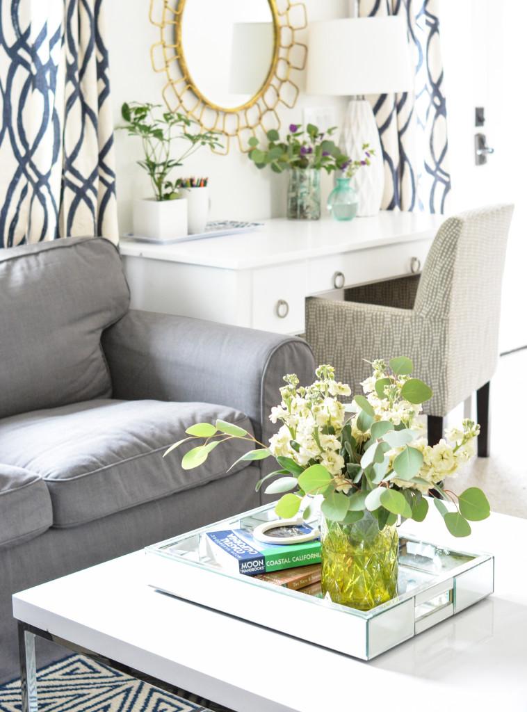coffee table desk flowers