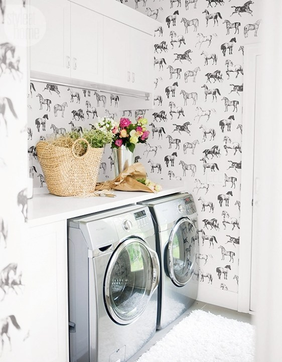 Wallpapered Laundry Rooms Centsational Style