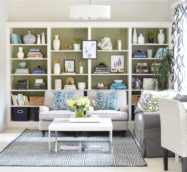 studio bookshelves with club chairs