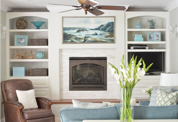 bookcases and fireplace
