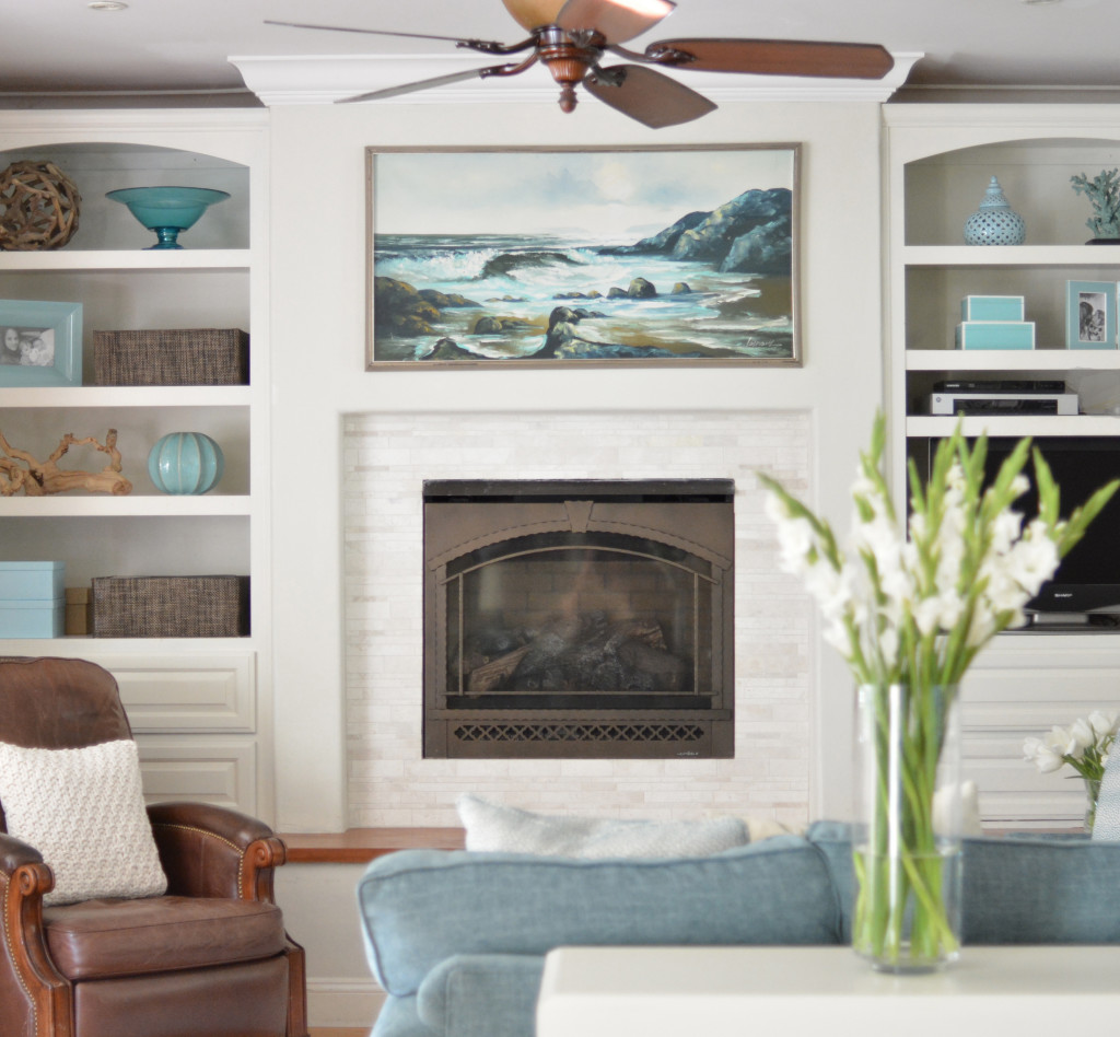 coastal family room fireplace