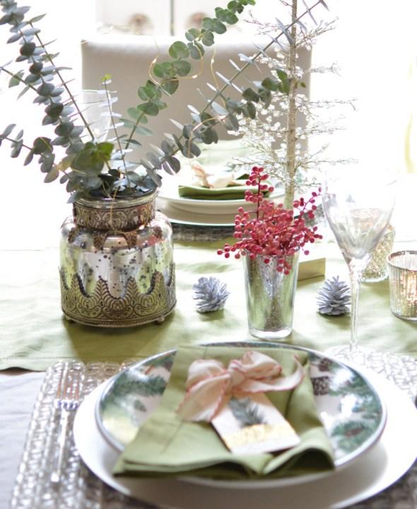 mercury glass vases eucalyptus stems